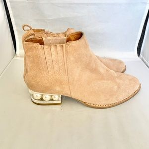 Jeffery Campbell Orlando faux pearl ankle bootie 8